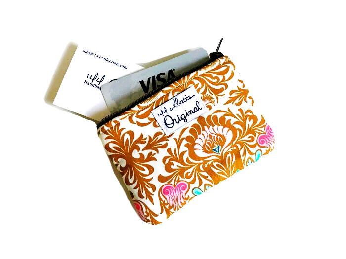 Handmade Handbags - Coin Purse Brown Blossoms
