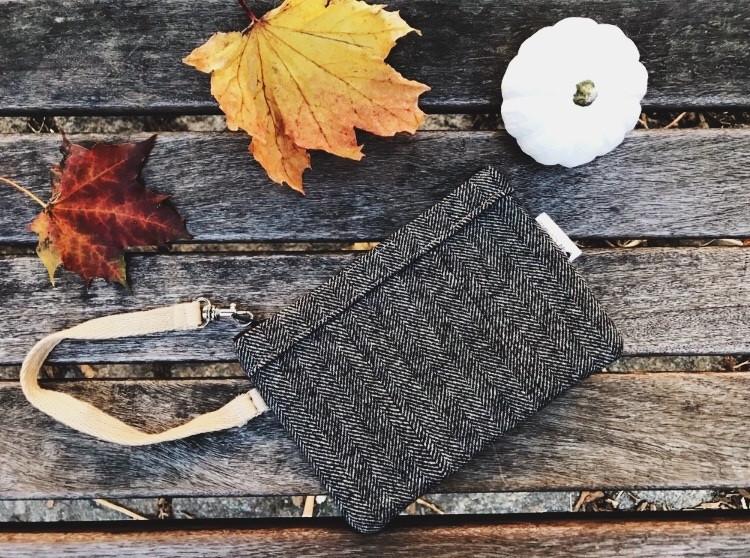 American Made Wallets - Black Wool Wristlet Wallet