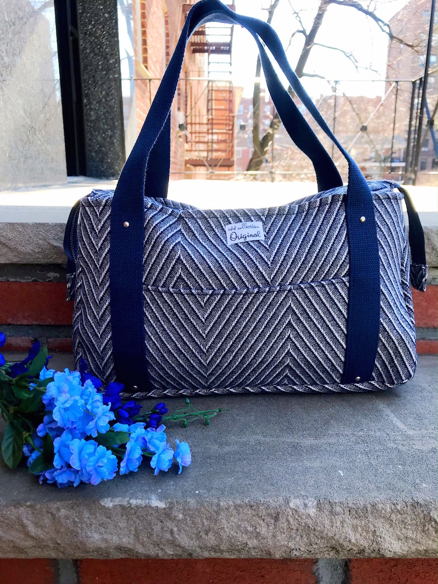 wool tote bag - striped blue