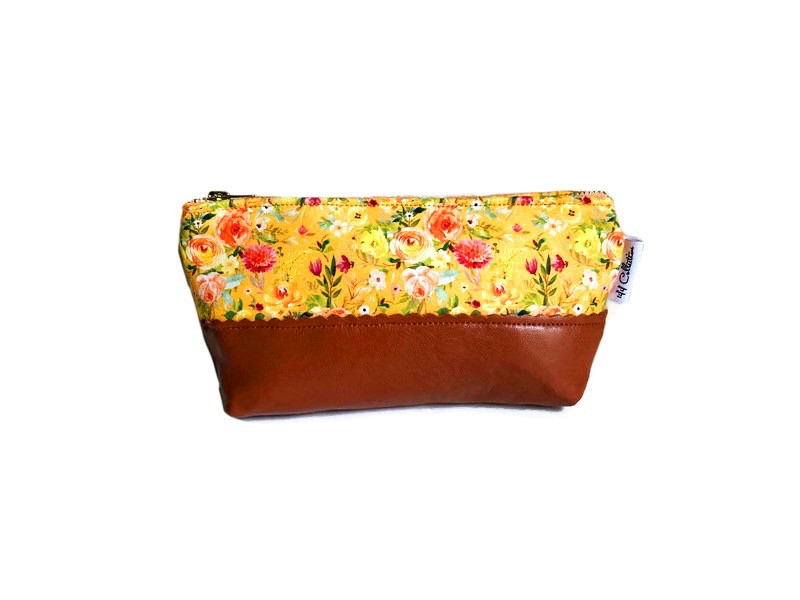 Leather Cosmetic Bag - Marigold Floral Print