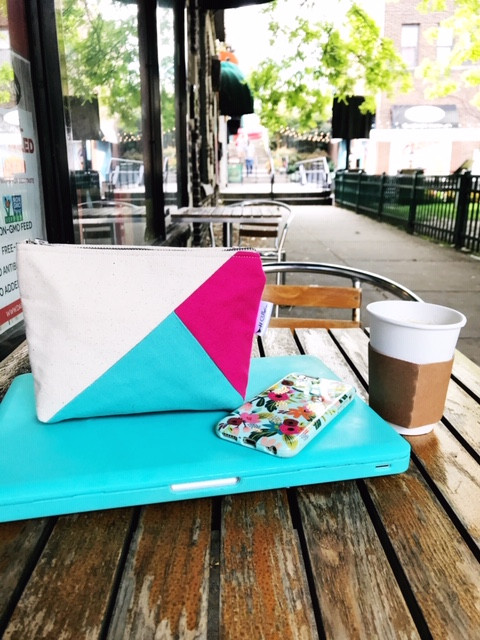 Gifts for College Girls - Fuchsia and Aqua Canvas Zipper Pouch