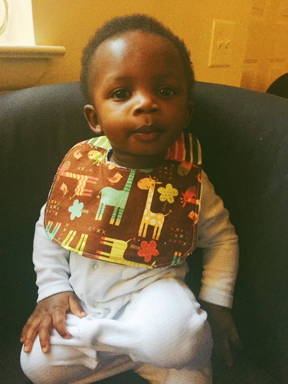 Handmade Baby Bibs and Burp Cloths - Giraffe Print