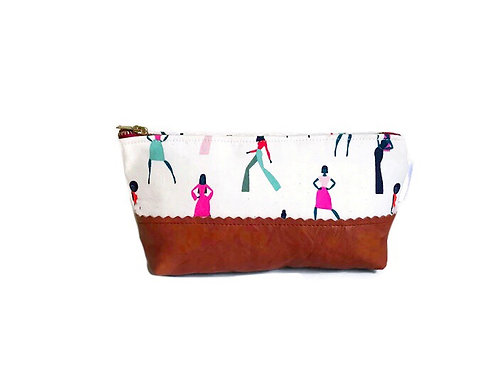 Silhouettes Leather Makeup Bag