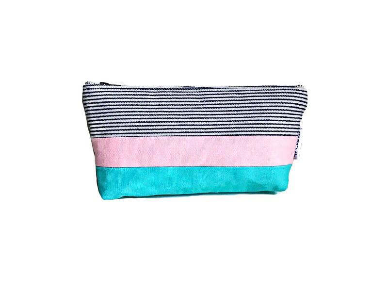 Canvas Zipper Pouch - Striped Blue, Pink and Aqua