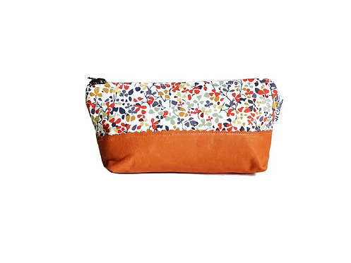 Autumn Flowers Leather Cosmetic Bag