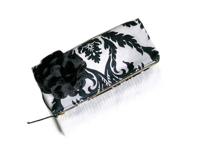 Foldover Clutch Bags - damask fabric print