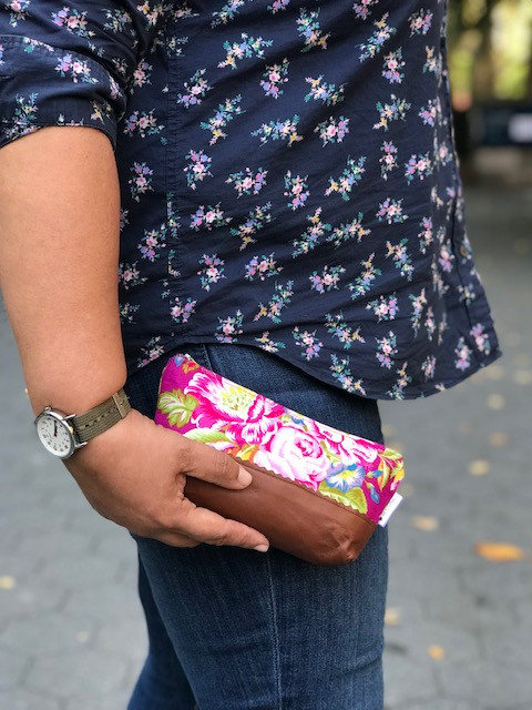 Makeup Bags Made in the USA - floral print pink and blue