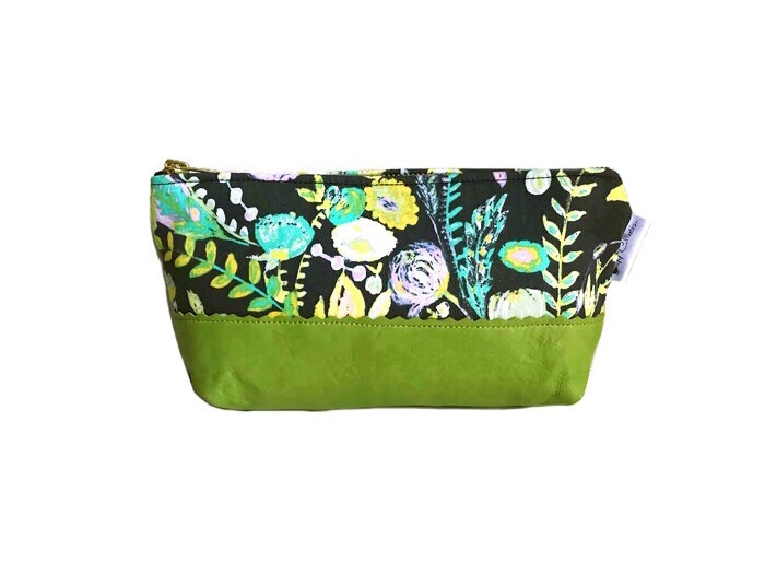 Floral Make up Bag - Green and Grey with Leather Accent