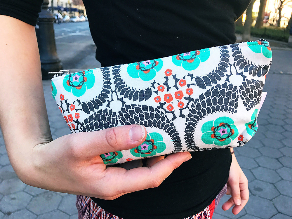 Makeup Bags Made in the USA - Floral Print Black and Orange