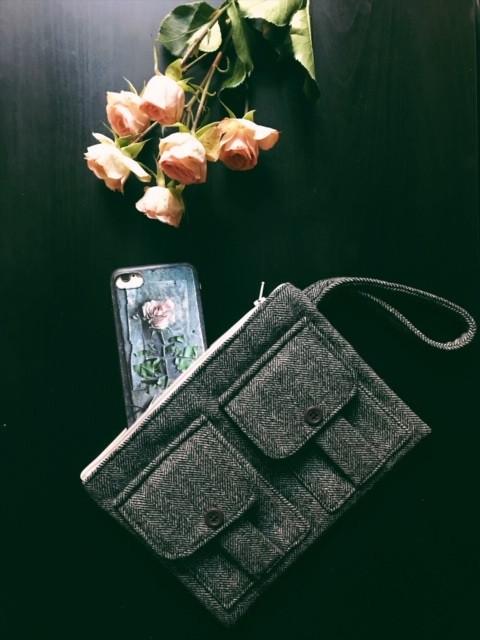Handmade Wristlet - Black Wool Tweed