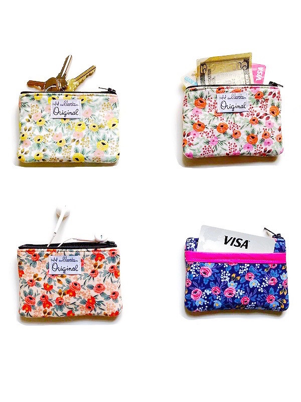 women's coin purses - floral fabric print