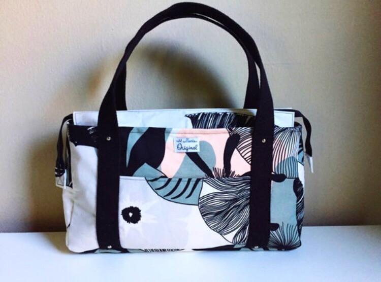Handmade Handbag - Black and Grey Floral Print