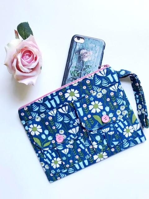 Phone Wallet Wristlet - Blue Corduroy Floral Print