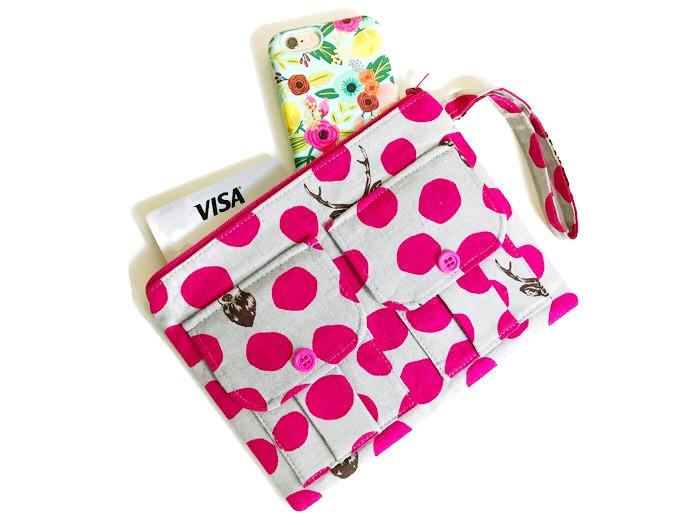 Handbags Made in the USA - Pink Polkadot Wristlet