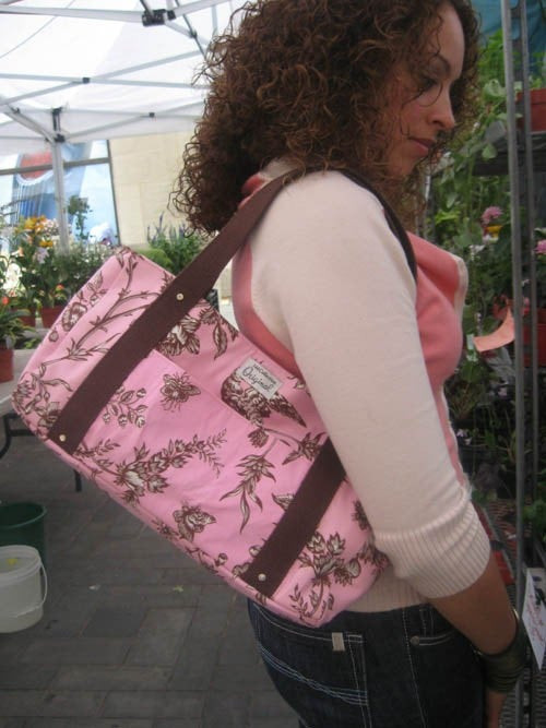 Handmade Tote Bag - Pink and Brown Floral Print