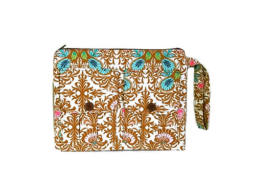 Brown Floral Wristlet Bag