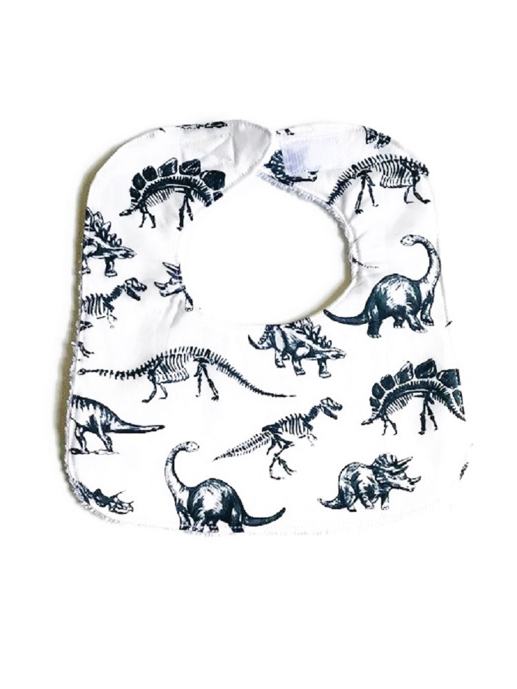 Baby Boy Bibs - Dinosaurs in White Bib