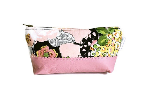 Greenwich Pink Leather Makeup Bag