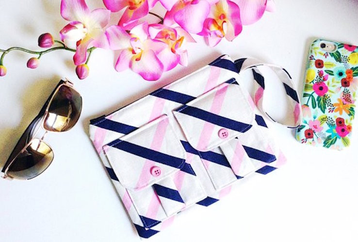 iPhone Wallets for Women - Pink and Blue Striped Print