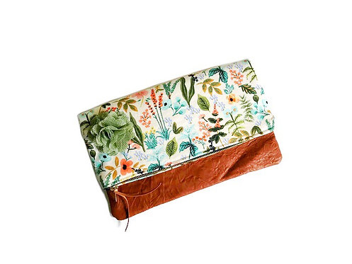 Floral Fold Over Leather Clutch