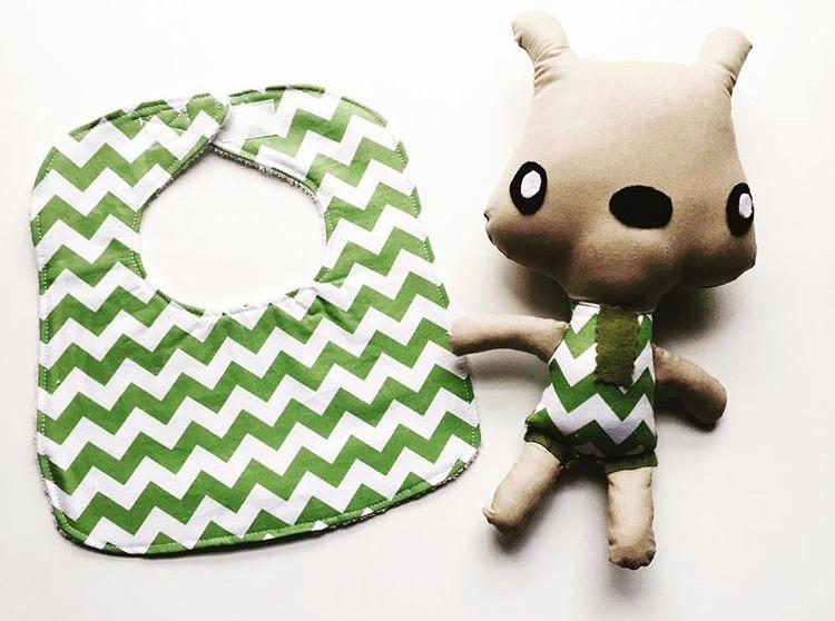 Chevron Baby Bib and Fabric Doll