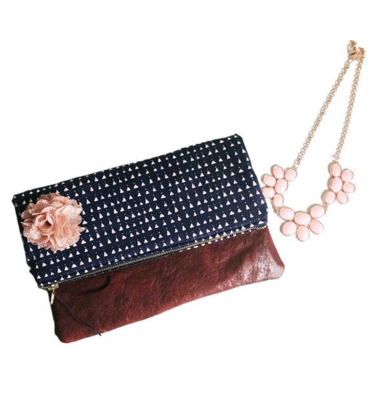 fold over clutch bag - navy blue and pink