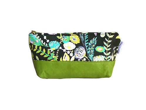 Floral Green Small Leather Pouch