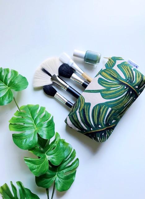 Summer Makeup Bags- Palm Leaf Monstera Print