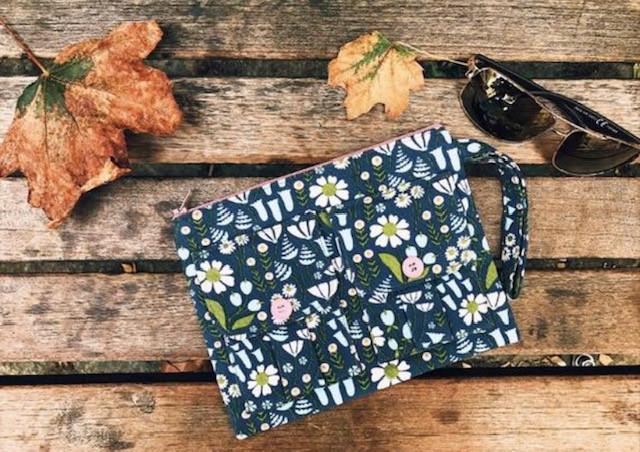 Floral Wallet - Blue Corduroy Fabric Print