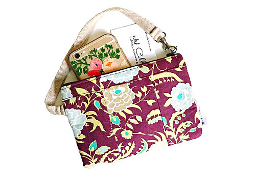 Phone Wallet Wristlet - Mums Floral Print