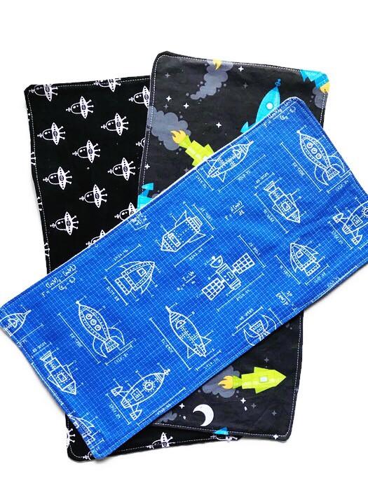Baby Boy Burp Cloths - Spaceship Print