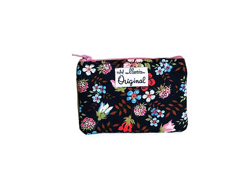 Flower Print Black Coin Purse