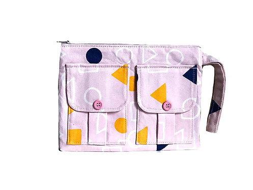 Geometry Pink Wristlet Bag - Wallet - Wristlet Purse - Handmade Handbags