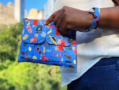 A Worldly Travel Pouch for Weekend Trips: Bon Voyage Blue Wristlet Pouch