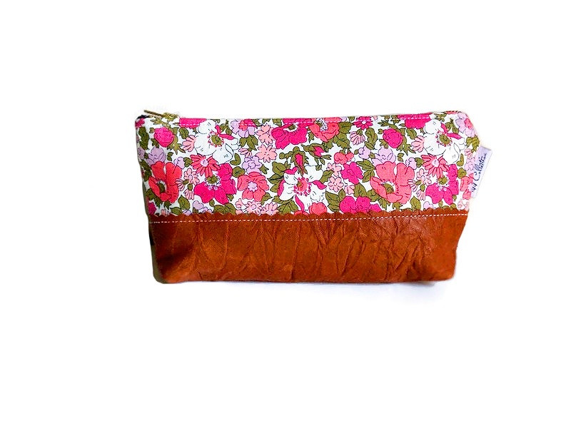 Leather Cosmetic Bag - Fuchsia Pink Floral Print