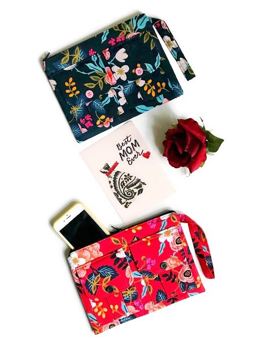 Handmade Wristlets - Floral Blue and Floral Red