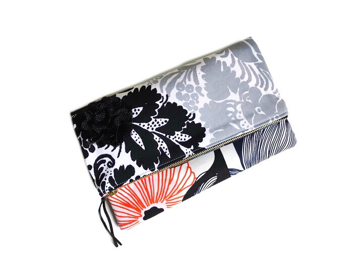 Handmade Clutch - Black and White Damask Print