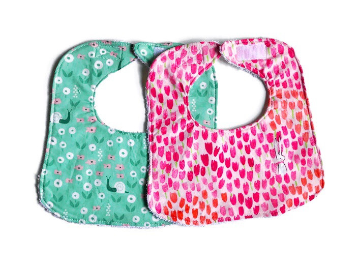 Baby Girl Bibs with Rabbit and Snail Floral Prints