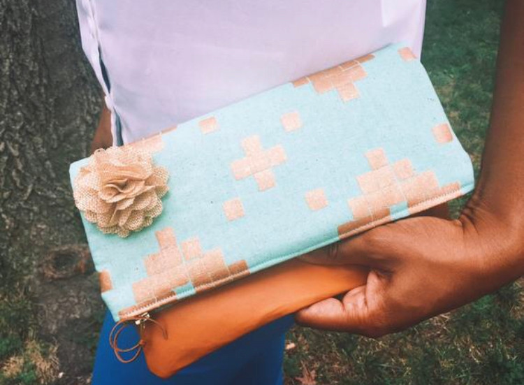 Handmade Evening Bags - Mint Green and Copper