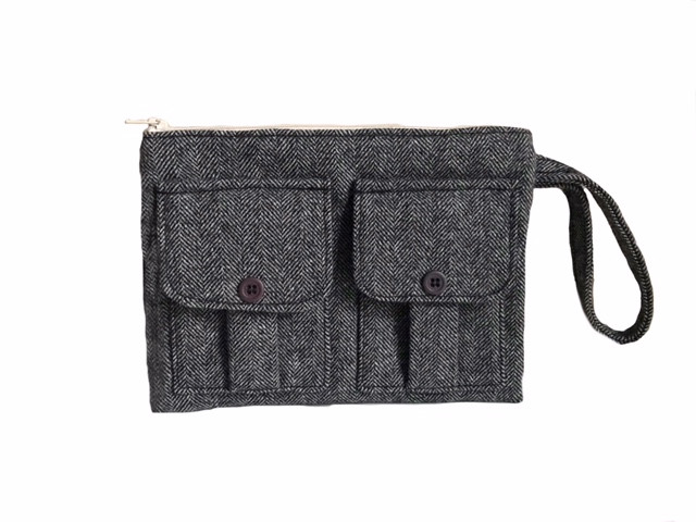 Wool Tweed Wristlet