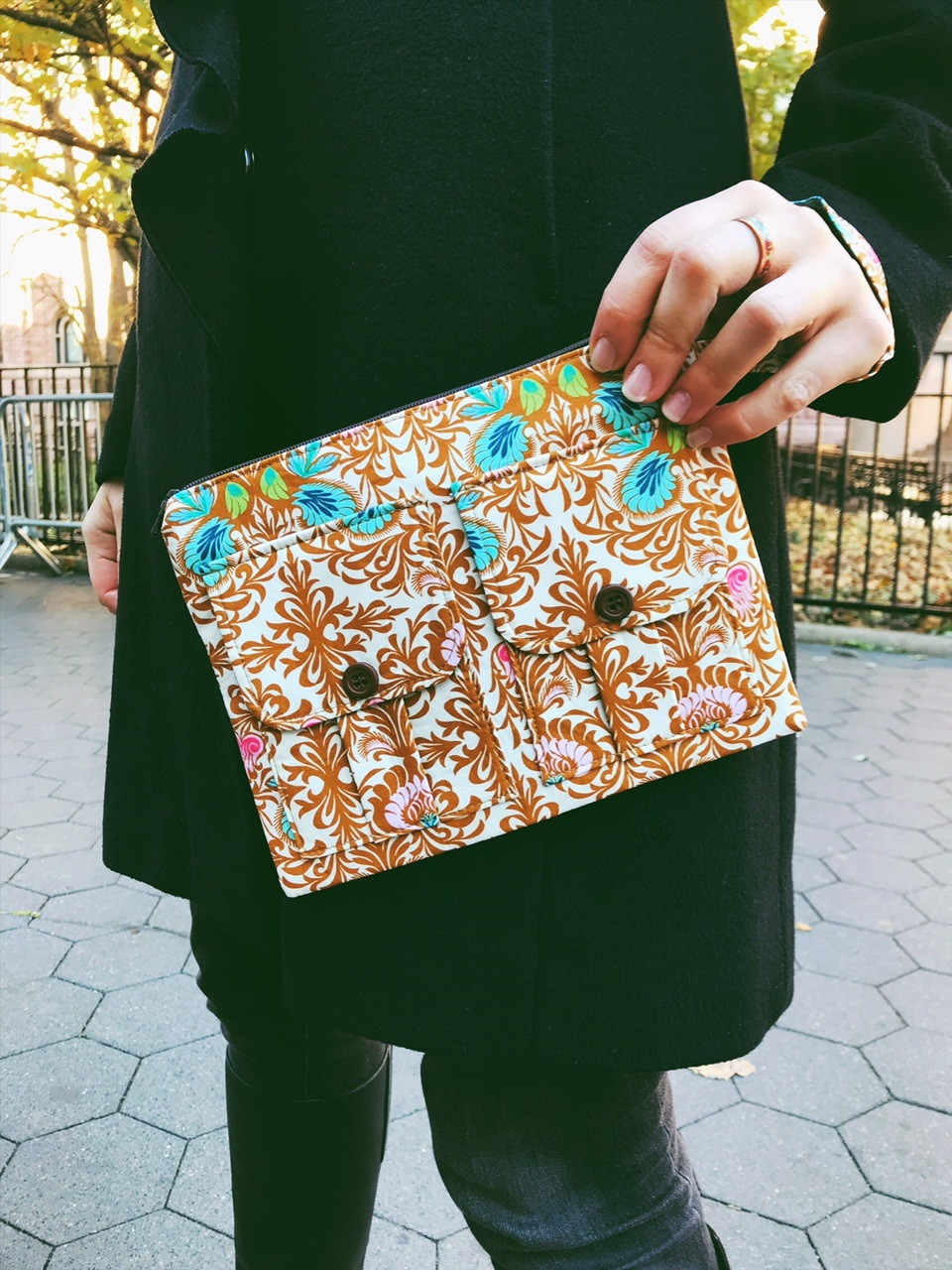 Wristlet Bag - Brown Floral Print