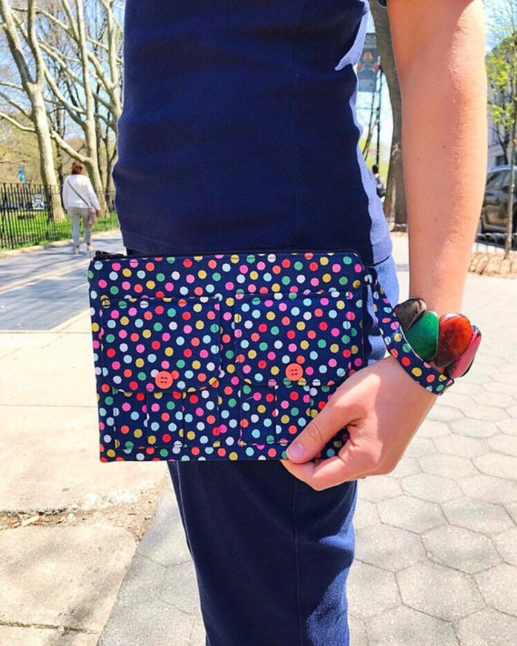 Wristlet Bag - Blue with Polka Dots
