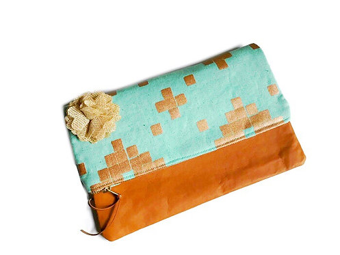 Handmade Clutch - Mint Green and Metallic Copper Print