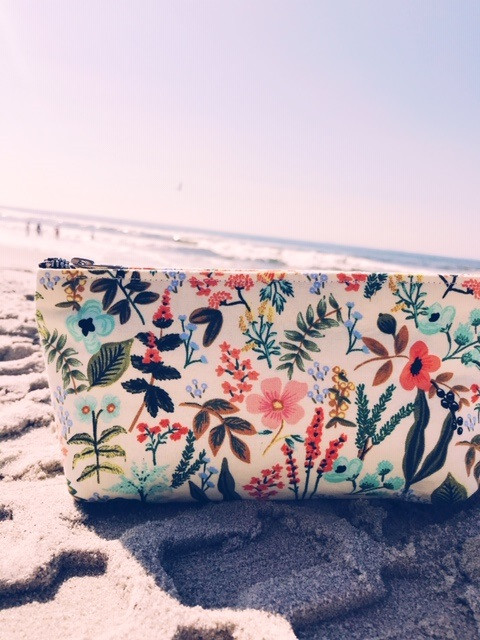 Summer Makeup Bags - White Floral Print