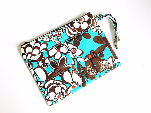 Wristlet Wallet - Turquoise Blue and Brown Floral Print