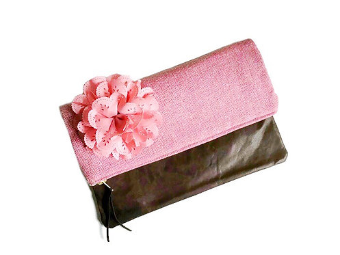 Handmade Leather Clutch - Pink Wool Fabric