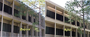 Building facade pressure washing
