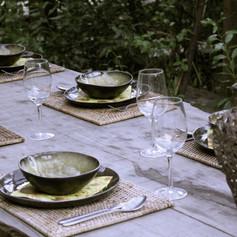 Outside dinner table.