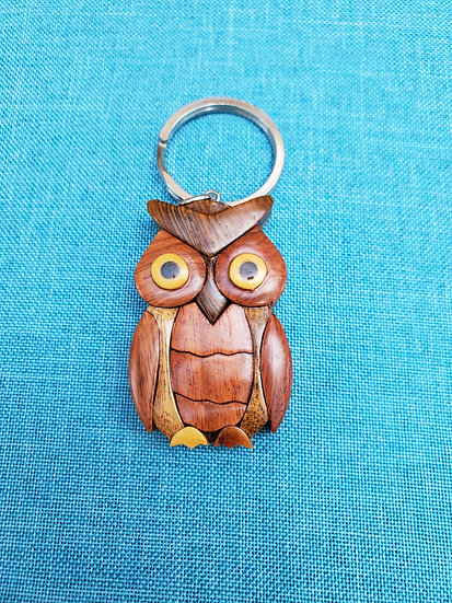 Owl Wood Key Chain