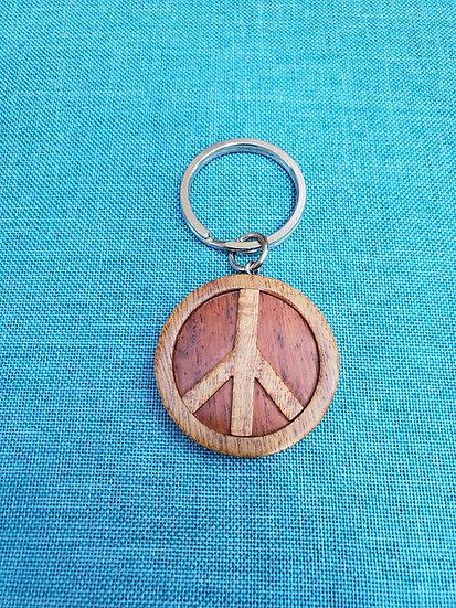 Peace Sign Wood Key Chain